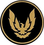 1988-92 GTA WHEEL CAP EMBLEM GOLD/BLACK