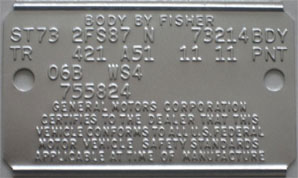 GM COWL ID TAG REPRODUCTION SERVICE