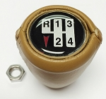 1970-81 MANUAL TRANS GEARSHIFT KNOB LEATHER WRAPPED CAMEL