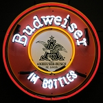BUDWEISER IN BOTTLES NEON SIGN WITH BACKING