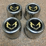 WHEEL CENTER CAP ROUND STAINLESS STEEL GOLD EMBLEM 77-81 (SET OF 4) N90