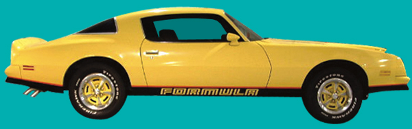 1976-78 Firebird Formula 2 Tone Light Blue / Dark Blue Decal Stripe Set with Black Door Decals