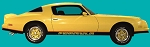 1976-78 Firebird Formula Two-Tone Light Gold / Dark Gold Decal Stripe Set with Black Door Decals