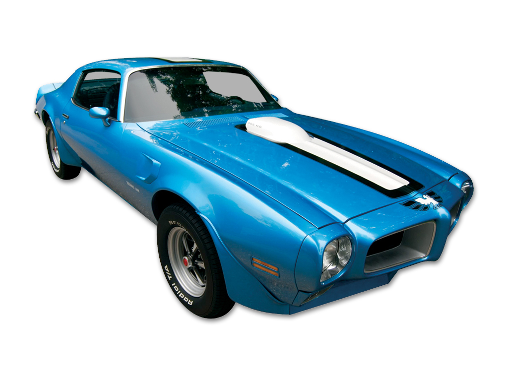 1970-72 Trans-Am White Stripe and Decal Set for Blue Car