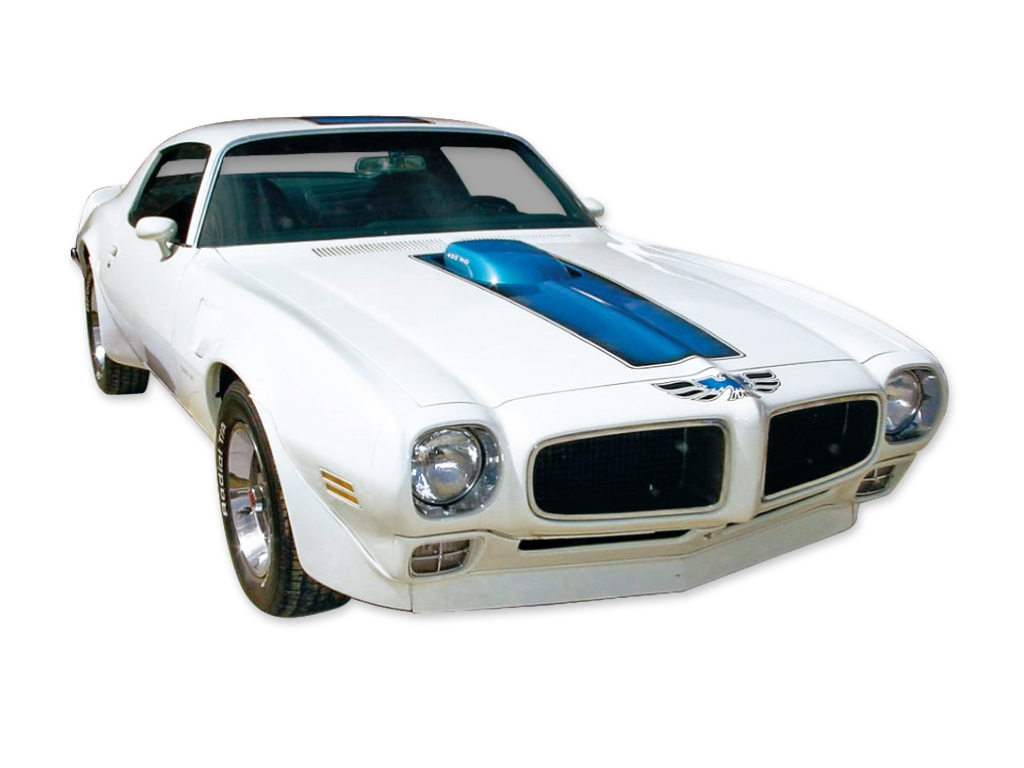 1970-72 Trans-Am Blue Stripe and Decal Set for White Car
