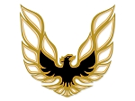 1973-78 Trans-Am Black / Light Gold / Yellow-Orange / Clear with Block Script Decal Set (LOOPING BIRD STYLE)