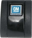 1968-72 SEAT BELT COVER-BLACK-WITH GM MARK OF EXCELLENCE EMBLEM
