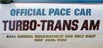 1980 Trans AM Indy Pace Car Door Decal / Pontiac Windshield Logo Set