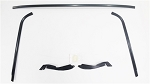 1970 - 1981 F-Body Front Windshield Moldings Kit, BLACK ANODIZED with Plastic Lower Corners