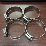 PONTIAC FIREBIRD HOSE CLAMP SET FULL STAINLESS STEEL FOR RADIATOR HOSES - PONTIAC / OLDSMOBILE - 4 PCS